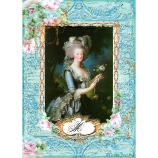 Marie Antoinette Portrait with Pink Roses and Lace